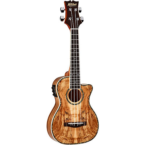 Mitchell MU80X-CE-SM Exotic Acoustic Electric Cutaway Ukulele Spalted Maple Natural
