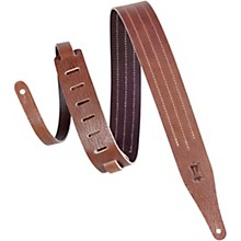 "Levy's MV217TS-BRN_BRN 2"" Wide Brown Veg-tan Leather Guitar Strap"