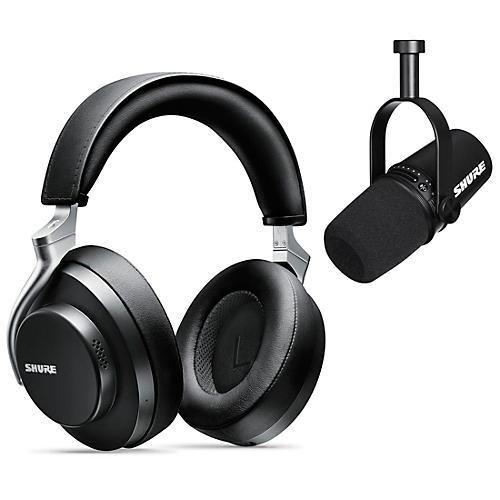 Shure MV7-K USB Microphone and AONIC 50 Headphones Content Creator Bundle Black