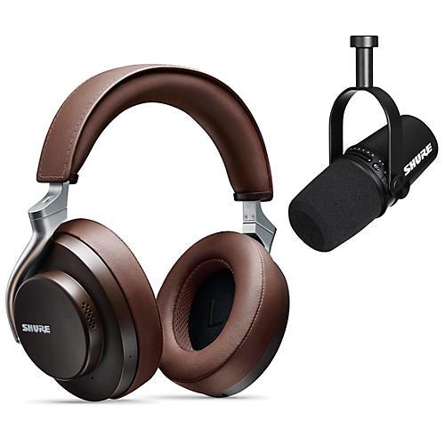 Shure MV7-K USB Microphone and AONIC 50 Headphones Content Creator Bundle Brown