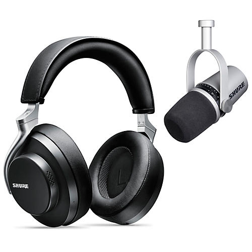 Shure MV7-S USB Microphone and AONIC 50 Headphones Content Creator Bundle Black