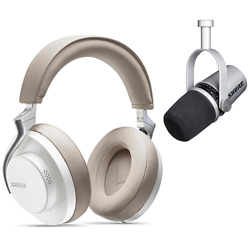 Shure MV7-S USB Microphone and AONIC 50 Headphones Content Creator Bundle White