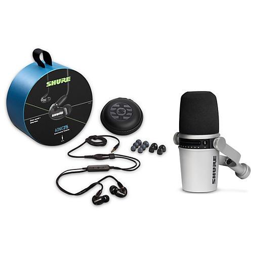 Shure MV7-S USB Microphone and AONIC215 Earphones Content Creator Bundles Black