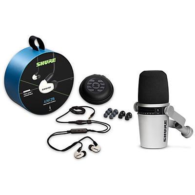 Shure MV7-S USB Microphone and AONIC215 Earphones Content Creator Bundles