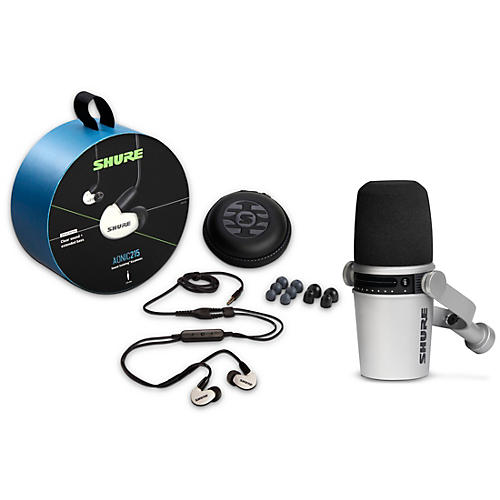 Shure MV7-S USB Microphone and AONIC215 Earphones Content Creator Bundles White