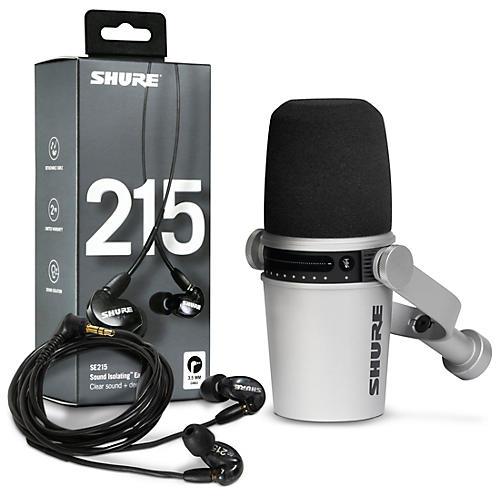 Shure MV7-S USB Microphone and SE215 Earphones Content Creator Bundle Black