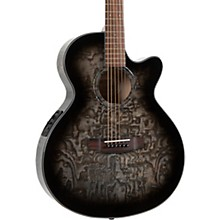 MX430-QAB-NAT Exotic Series Acoustic-Electric Quilted Ash Burl Midnight Black Edge Burst