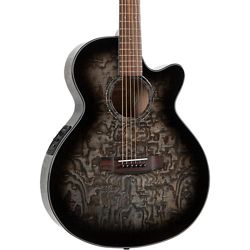 Mitchell MX430-QAB-NAT Exotic Series Acoustic-Electric Quilted Ash Burl Midnight Black Edge Burst