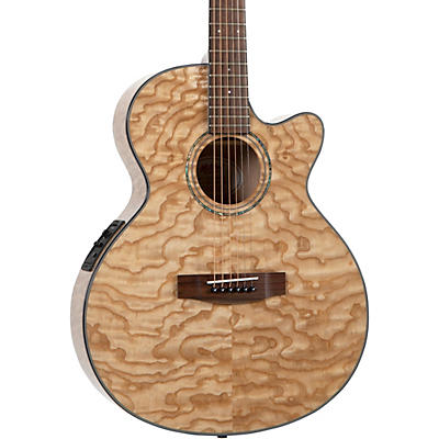 Mitchell MX430-QAB-NAT Exotic Series Acoustic-Electric Quilted Ash Burl