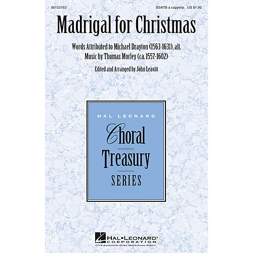 Hal Leonard Madrigal for Christmas SSATB A Cappella arranged by John Leavitt