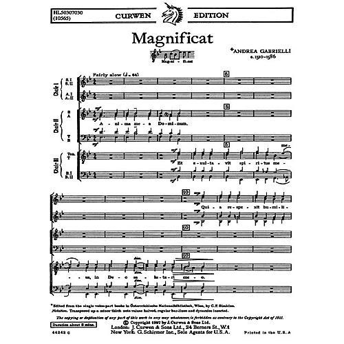 G. Schirmer Magnificat For Three Choruses SATB TTBB SSAA SATB TTBB SA composed by A Gabrielli