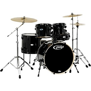 pdp by dw mainstage 5 piece drum set w hardware and paiste cymbals black metallic musician 39 s. Black Bedroom Furniture Sets. Home Design Ideas