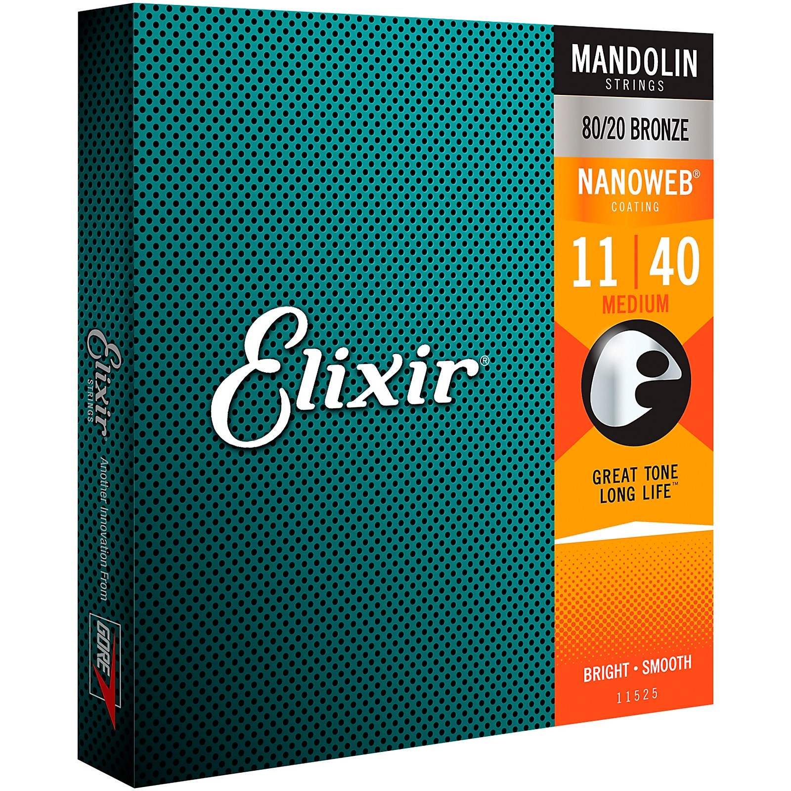 Elixir Mandolin Strings with NANOWEB Coating, Medium (.011-.040)