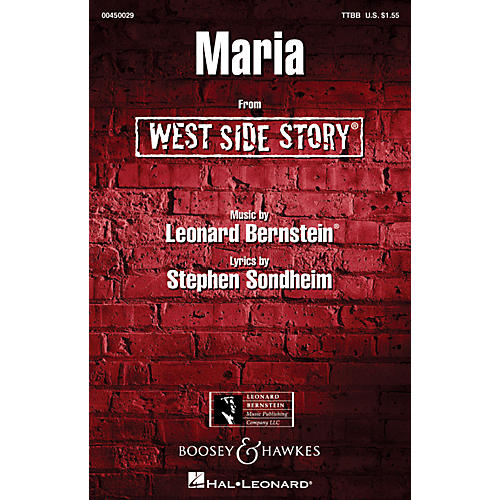 Hal Leonard Maria (from West Side Story) TTBB A Cappella Arranged by Ed Lojeski