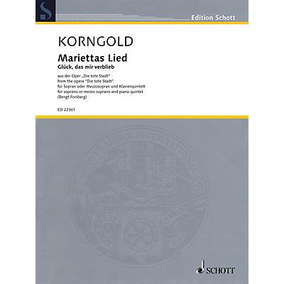 Schott Mariettas Lied, Op. 12 Opera Series Softcover Composed by Erich Wolfgang Korngold