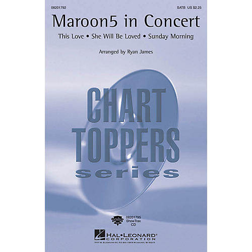 Hal Leonard Maroon 5 in Concert ShowTrax CD by Maroon 5 Arranged by Ryan James
