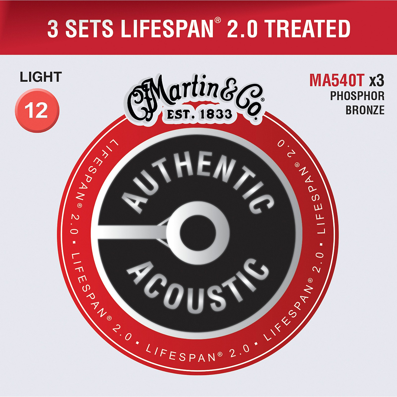 Martin Martin Authentic Acoustic Value Pack Lifespan 2.0 Light Strings - Set of 3