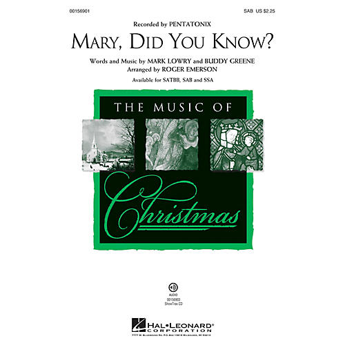 Hal Leonard Mary, Did You Know? SAB arranged by Roger Emerson