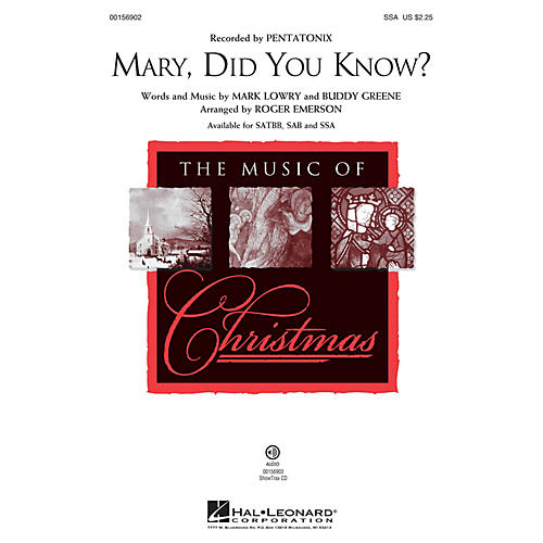Hal Leonard Mary, Did You Know? SSA arranged by Roger Emerson