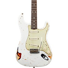 Masterbuilt Dennis Galuszka '60s Relic Stratocaster Brazilian Rosewood Neck Electric Guitar Olympic White over 3-Color Sunburst