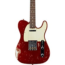 Masterbuilt Dennis Galuszka '60s Telecaster Relic Brazilian Rosewood Neck Electric Guitar Candy Apple Red over Olympic White