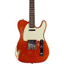 Masterbuilt Dennis Galuszka '60s Telecaster Relic Brazilian Rosewood Neck Electric Guitar Candy Tangerine over Olympic White
