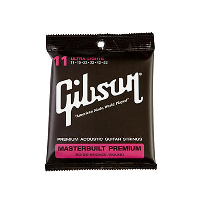 Gibson Masterbuilt Premium 80/20 Bronze Ultra Light Acoustic Guitar Strings