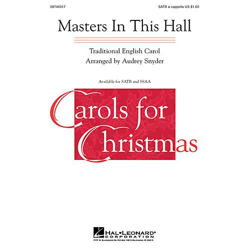 Hal Leonard Masters in This Hall SATB a cappella arranged by Audrey Snyder