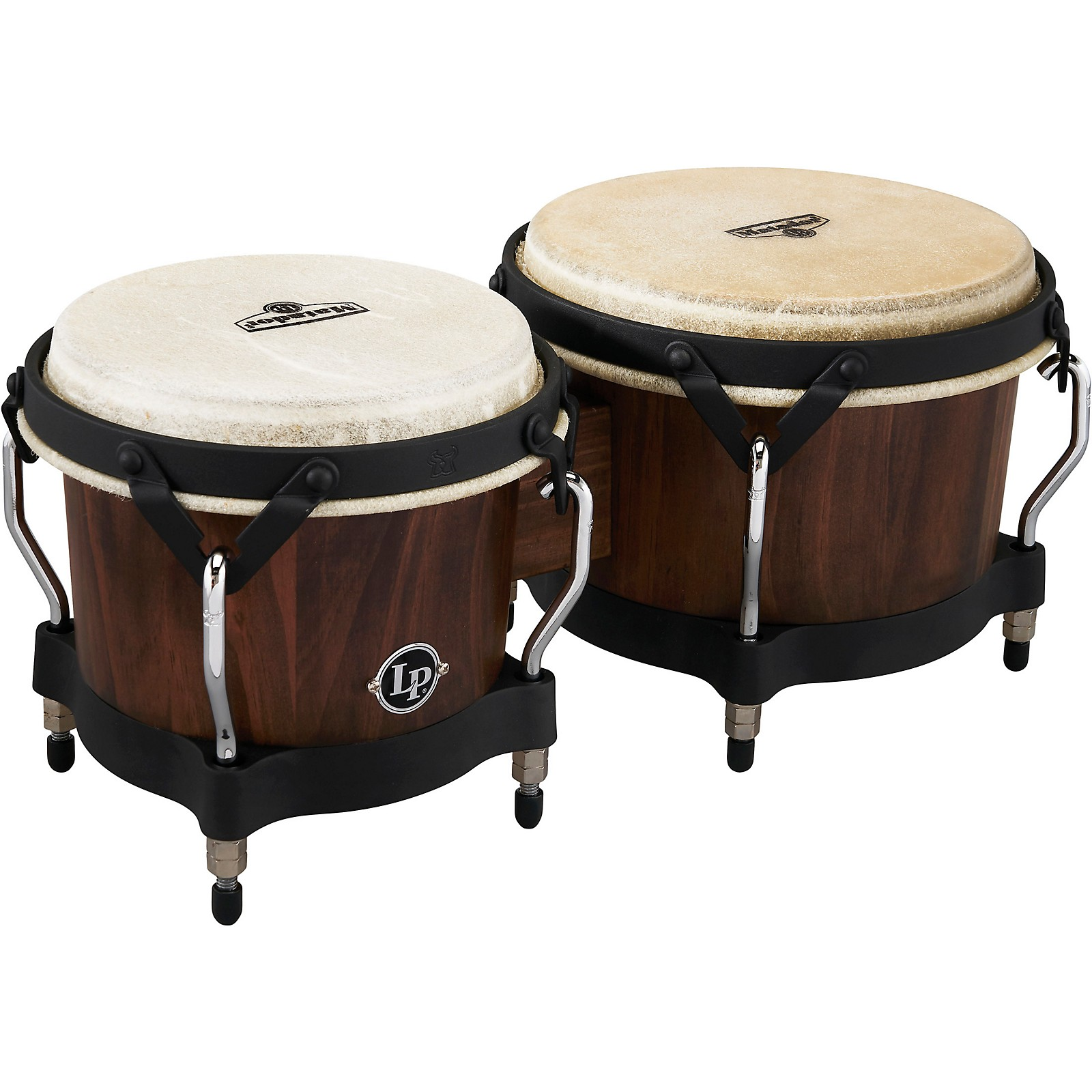 LP Matador Pine Whiskey Barrel Bongos, with Black Hardware