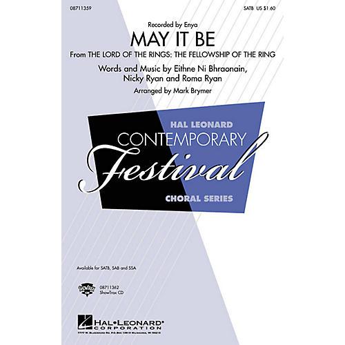 Hal Leonard May It Be (SAB) SAB by Enya Arranged by Mark Brymer