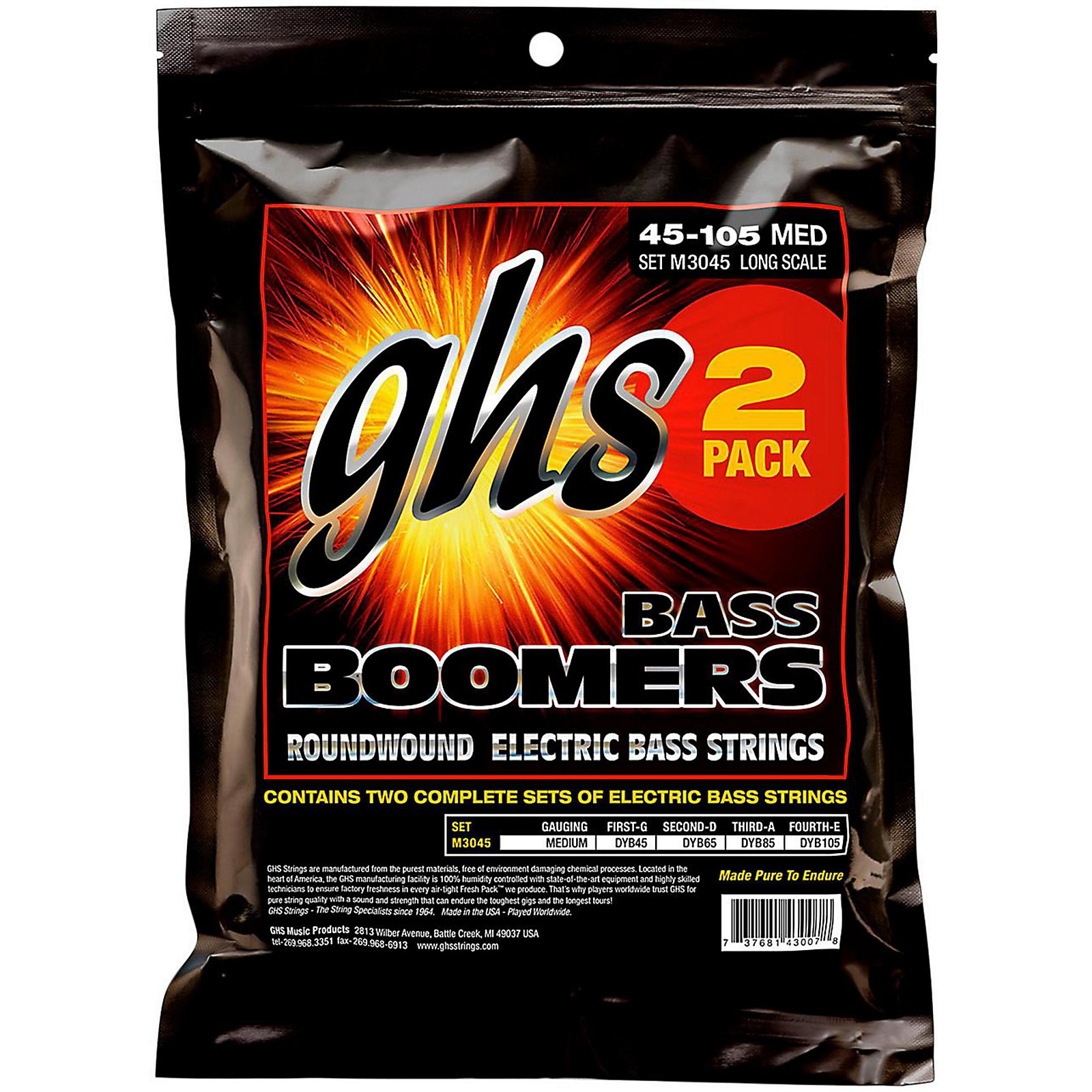 GHS Medium Bass Boomers Strings 2-Pack