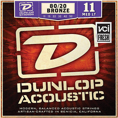 Dunlop Medium Light 80/20 Bronze Acoustic Guitar Strings