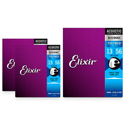 Elixir Medium Polyweb Acoustic Guitar Strings (.013-.056) 3 Pack