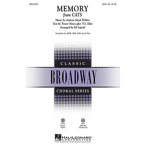 Hal Leonard Memory (from Cats) SATB arranged by Ed Lojeski