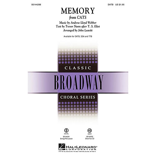 Hal Leonard Memory (from Cats) SATB arranged by John Leavitt