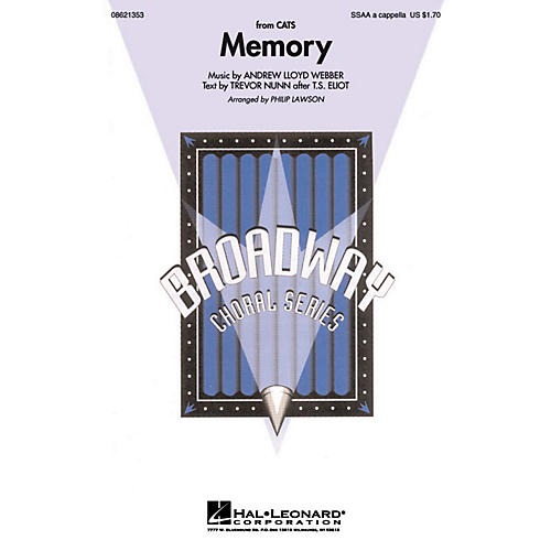 Hal Leonard Memory (from Cats) SSAA A Cappella arranged by Philip Lawson