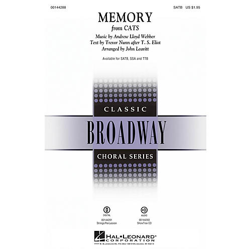 Hal Leonard Memory (from Cats) TTB Arranged by John Leavitt