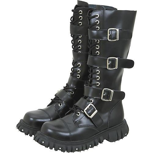T.U.K. Mens Heavy-Duty Leather 4-Buckle Boots