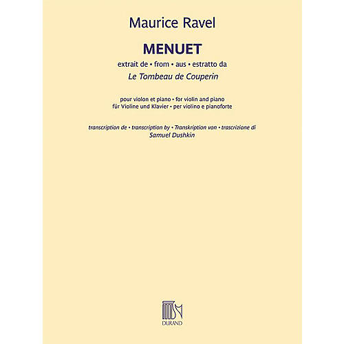 Durand Menuet from Le Tombeau de Couperin - Violin and Piano by Ravel