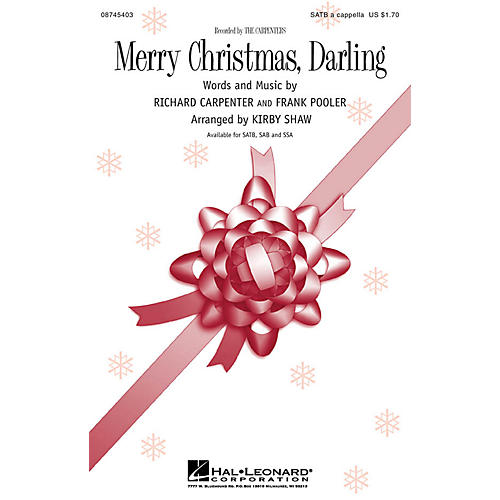 Hal Leonard Merry Christmas, Darling SATB a cappella arranged by Kirby Shaw