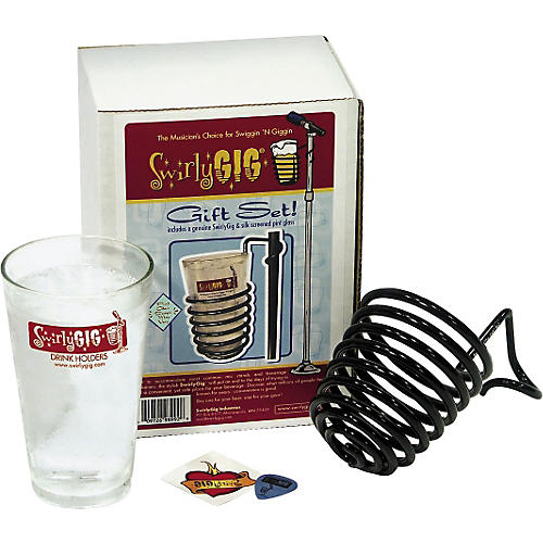SwirlyGig Mic Stand Drink Holder with Pint Glass Gift Set
