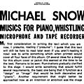 Alliance Michael Snow - Musics For Piano Whistling Microphone & Tape thumbnail