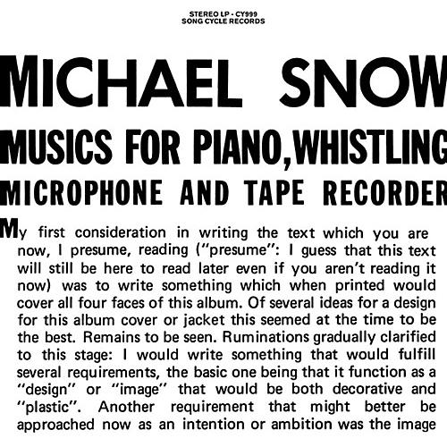 Alliance Michael Snow - Musics For Piano Whistling Microphone & Tape