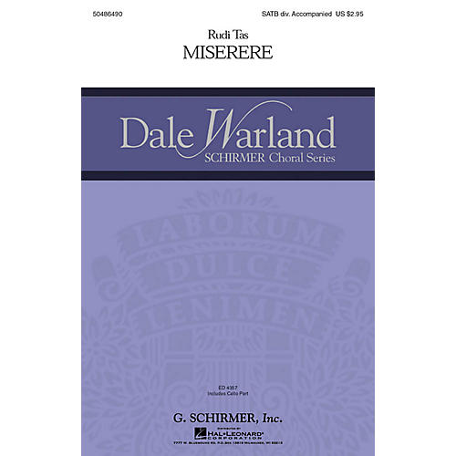 G. Schirmer Miserere (Dale Warland Choral Series) SATB W/ CELLO composed by Rudi Tas