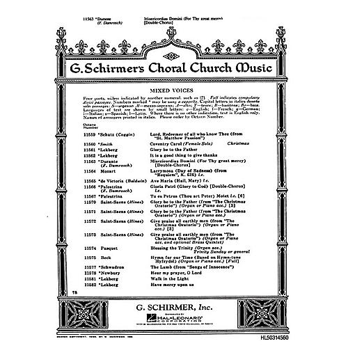 G. Schirmer Misericordias Domini (For Thy Great Mercy) SSAATTBB composed by F Durante