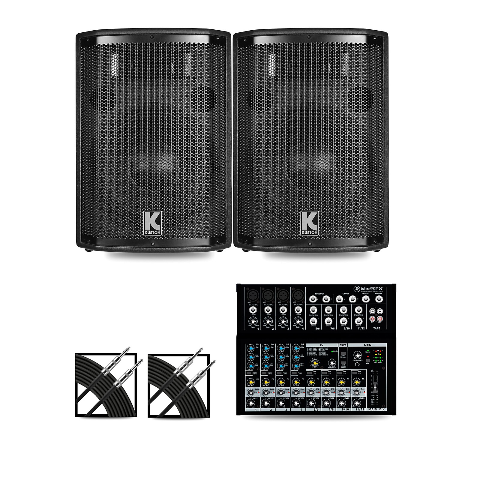 Mackie Mix12FX Mixer and Kustom HiPAC Speakers