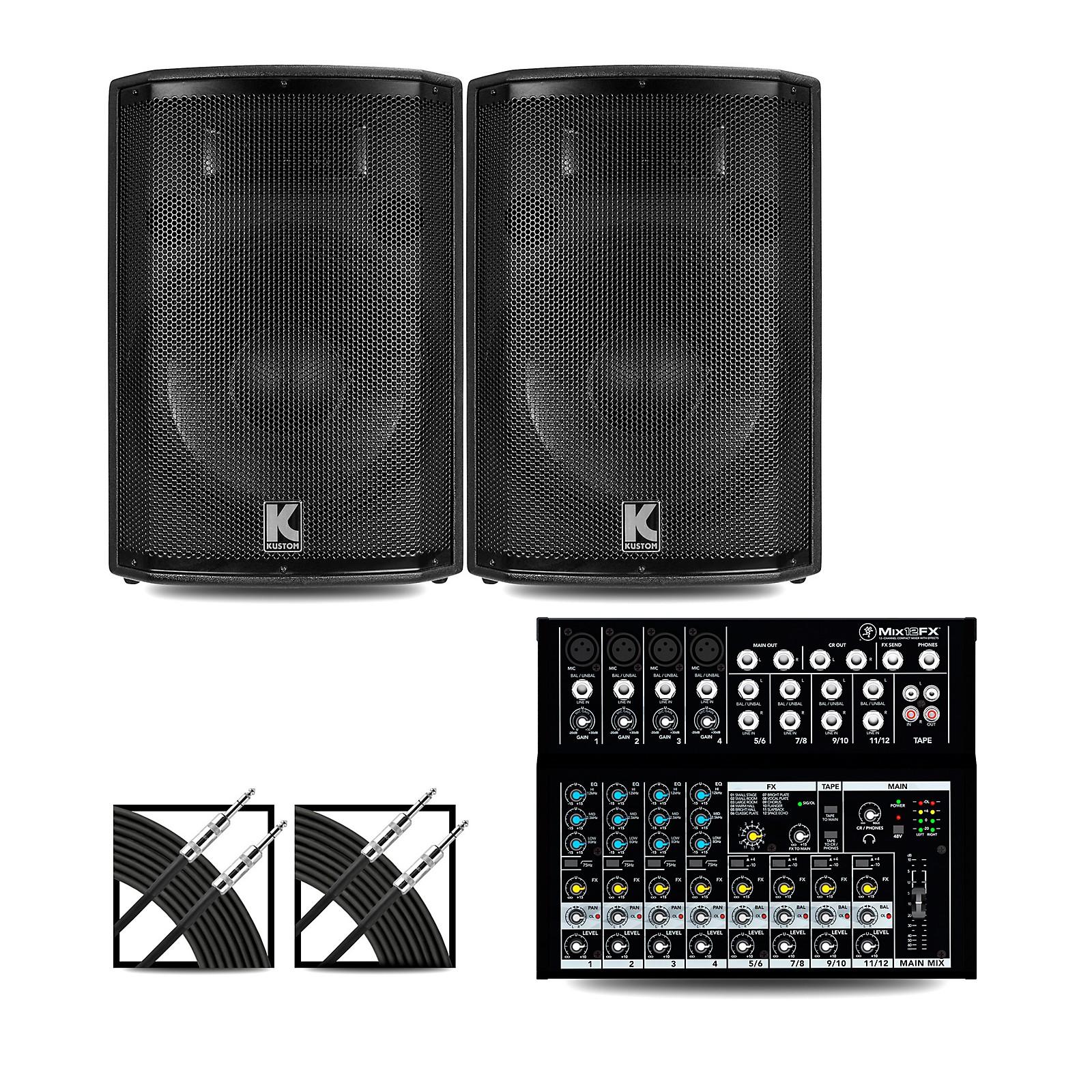 Mackie Mix12FX Mixer and Kustom HiPAC Speakers