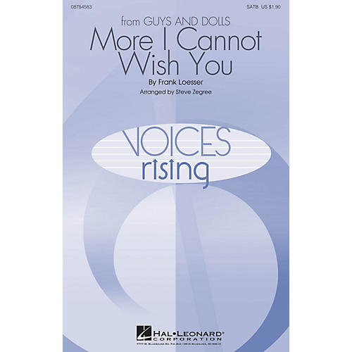 Hal Leonard More I Cannot Wish You SATB arranged by Steve Zegree