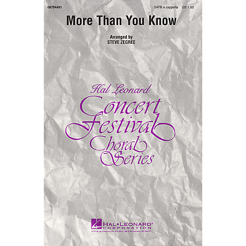 Hal Leonard More Than You Know SATB a cappella arranged by Steve Zegree