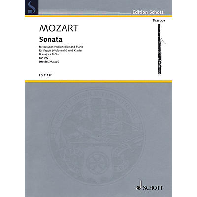 Schott Mozart - Sonata for Bassoon (Violoncello) and Piano in B-flat Major, K. 292 Edited by Albrecht Holder